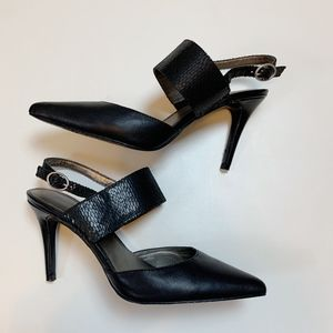 Audrey Brooke Carrie Black Leather Point Heels 7